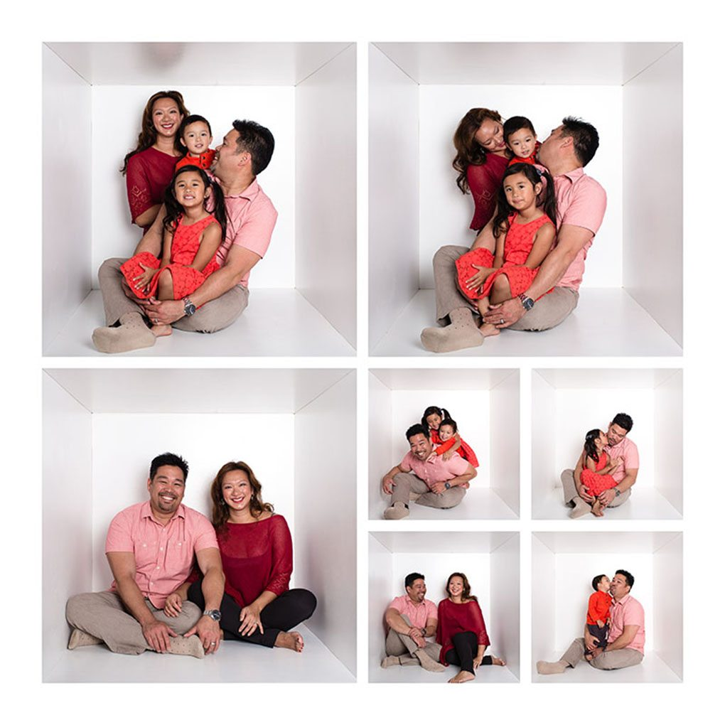 family composite portraits in cube